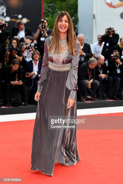 Alessia Fabiani walks the red carpet ahead of the 'The Sisters Brothers' screening during the 75th Venice Film Festival at Sala Grande on September 2...