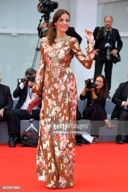 Alessia Fabiani walks the red carpet ahead of the 'Una Famiglia' screening during the 74th Venice Film Festival at Sala Grande on September 4 2017 in...