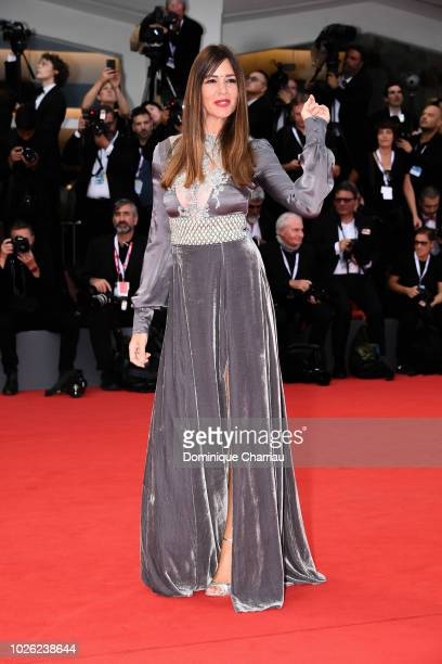 Alessia Fabianiwalks the red carpet ahead of the 'The Sisters Brothers' screening during the 75th Venice Film Festival at Sala Grande on September 2...