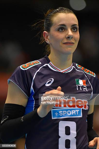 Alessia Gennari of Italy looks on during the Women's World Olympic Qualification game between Italy and Kazakhstan at Tokyo Metropolitan Gymnasium on...