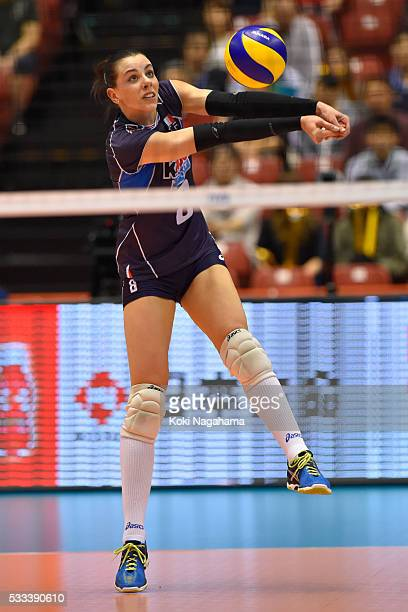 Alessia Gennari of Italy receives the ball during the Women's World Olympic Qualification game between Italy and Kazakhstan at Tokyo Metropolitan...