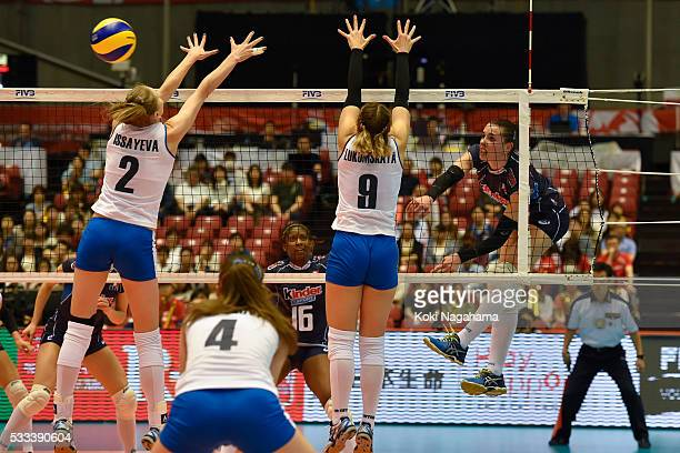 Alessia Gennari of Italy spikes the ball during the Women's World Olympic Qualification game between Italy and Kazakhstan at Tokyo Metropolitan...