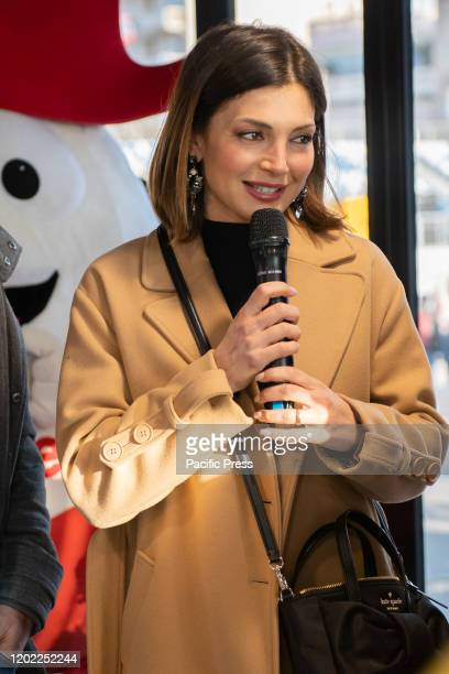 Alessia Mancini interviewed during the day spent at the Viareggio carnival
