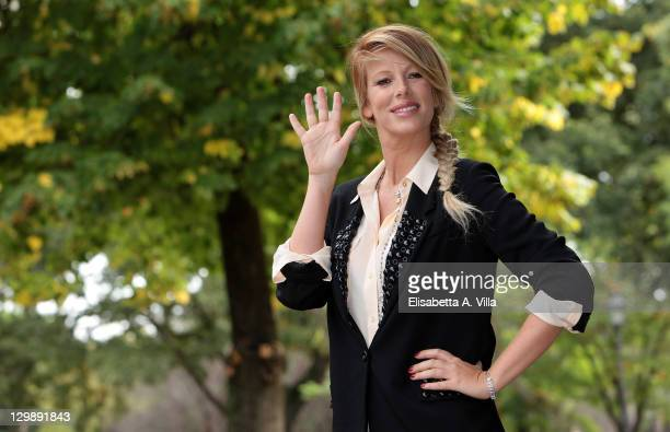 Alessia Marcuzzi attends the 2011 Grande Fratello TV show photocall at Villa Borghese on October 21 2011 in Rome Italy