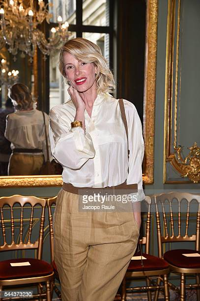 Alessia Marcuzzi attends the Alberta Ferreti Haute Couture Fall/Winter 20162017 show as part of Paris Fashion Week on July 3 2016 in Paris France