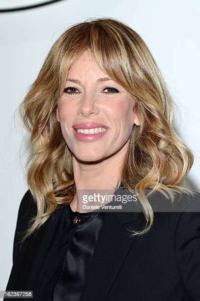 Alessia Marcuzzi attends the Versace fashion show during Milan Fashion Week Womenswear Fall/Winter 2013/14 on February 22 2013 in Milan Italy