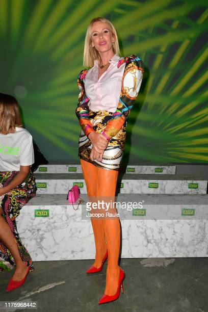 Alessia Marcuzzi attends the Versace fashion show during the Milan Fashion Week Spring/Summer 2020 on September 20 2019 in Milan Italy