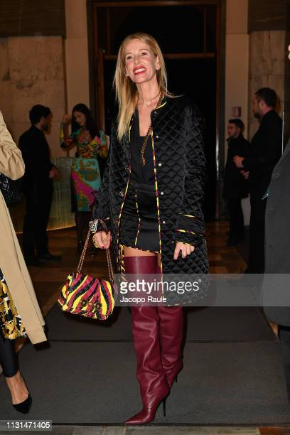 Alessia Marcuzzi attends the Versace show at Milan Fashion Week Autumn/Winter 2019/20 on February 22 2019 in Milan Italy