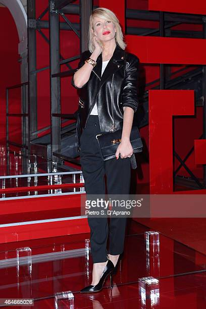 Alessia Marcuzzi attends the Versace show during the Milan Fashion Week Autumn/Winter 2015 on February 27 2015 in Milan Italy