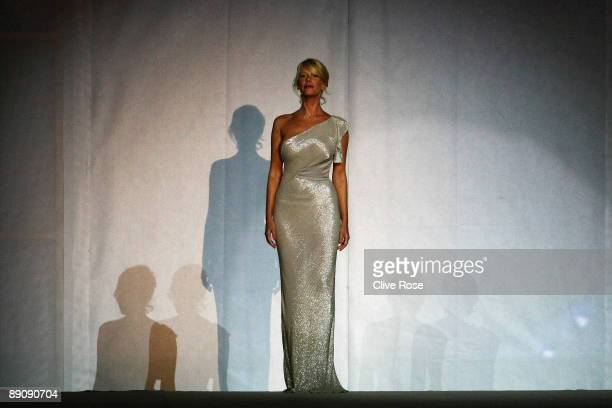 Alessia Marcuzzi is pictured on stage during the opening ceremony for the 13th FINA World Championships on July 18 2009 in Rome Italy