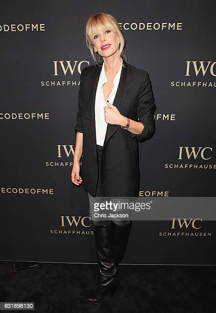 Alessia Marcuzzi visits the IWC booth during the launch of the Da Vinci Novelties from the Swiss luxury watch manufacturer IWC Schaffhausen at the...