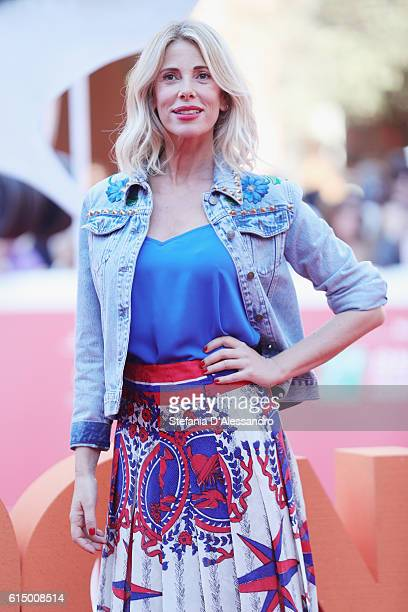 Alessia Marcuzzi walks a red carpet for 'Storks Cicogne In Missione' during the 11th Rome Film Festival at Auditorium Parco Della Musica on October...