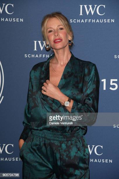 Alessia Marcuzzi walks the red carpet for IWC Schaffhausen at SIHH 2018 on January 16 2018 in Geneva Switzerland