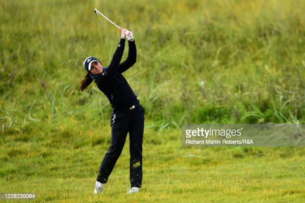Alessia Nobilio of Italy hits an approach shot during Round 3 of Matchplay on Day Four of The Women's Amateur Championship at The West Lancashire...