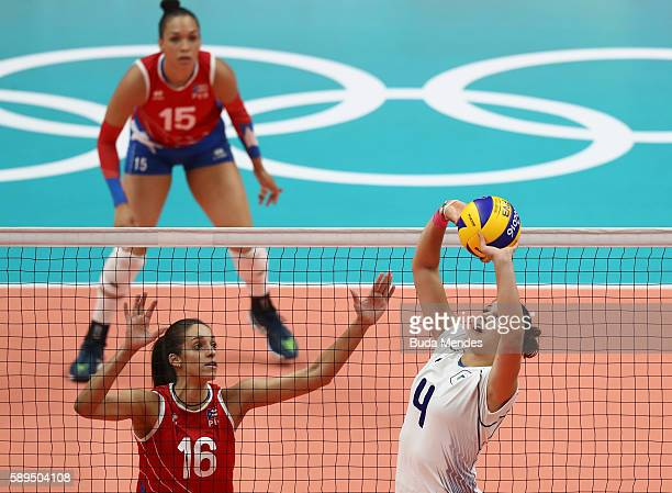 Alessia Orro of Italy in action during the women's qualifying volleyball match between Italy and Puerto Rico at the Maracanazinho stadium on August...