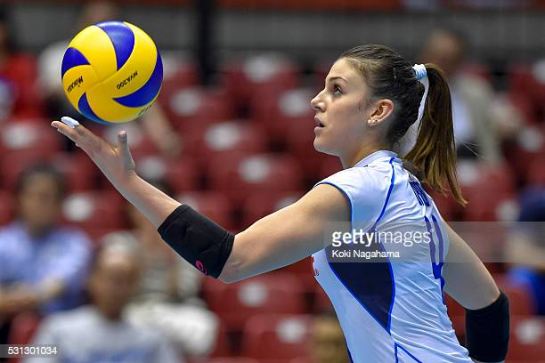 Alessia Orro of Italy serves the ball during the Women's World Olympic Qualification game between South Korea and Italy at Tokyo Metropolitan...