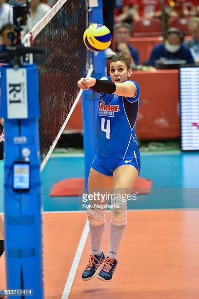 Alessia Orro of Italy tosses the ball during the Women's World Olympic Qualification game between Japan and Italy at Tokyo Metropolitan Gymnasium on...