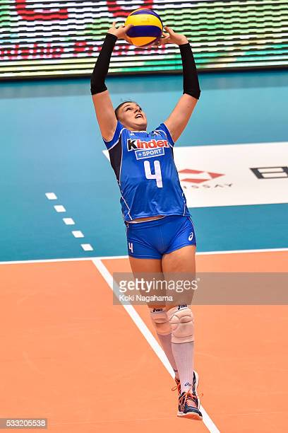 Alessia Orro of Japan tosses the ball during the Women's World Olympic Qualification game between Japan and Italy at Tokyo Metropolitan Gymnasium on...