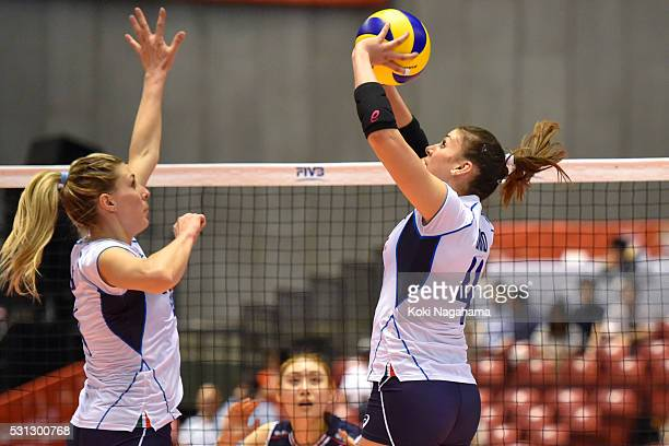 Alessia Orro of taly tosses the ball during the Women's World Olympic Qualification game between South Korea and Italy at Tokyo Metropolitan...