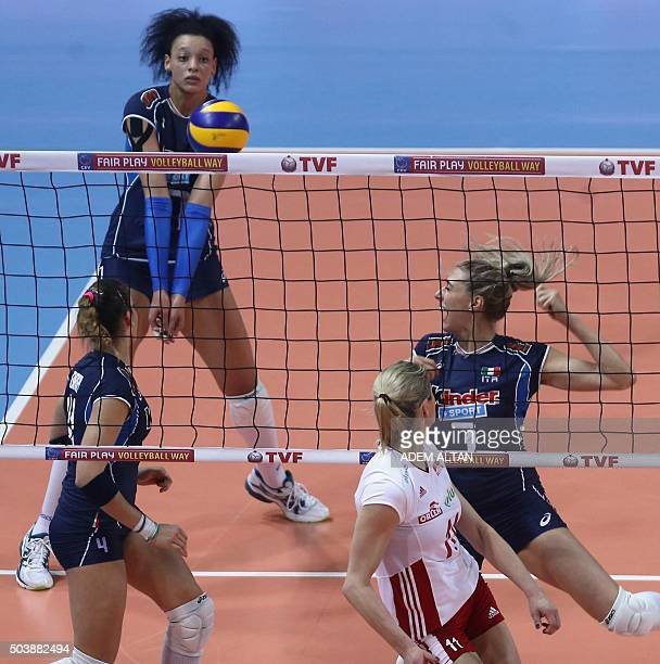 Alessia Orro Valentina Diouf and Martina Guiggi of Italy play against Sylwia Pycia of Poland during their European Olympic Qualification Tournament...