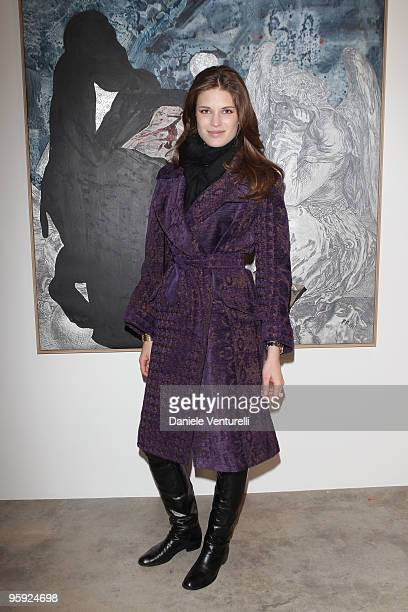 Alessia Piovan attends the Jorg Immendorff show at the Cardi Black Box Gallery on January 21 2010 in Milan Italy