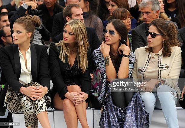 Alessia Piovan Martina Stella Benedetta Mazzini and Lola Schnabel attend the Roberto Cavalli Fashion Show as part of Milan Fashion Week Womenswear...