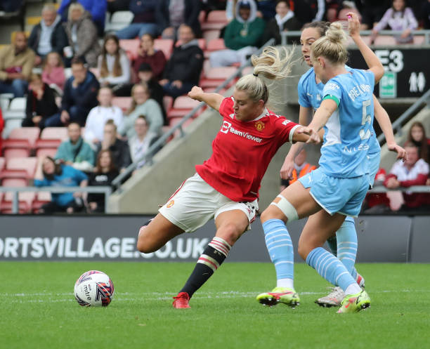 Alessia Russo of Manchester United Women scores their second goal during the Barclays FA Women's Super League match between Manchester United Women...