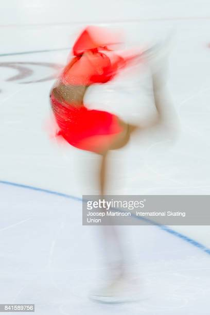 Alessia Tornaghi of Italy competes in the Junior Ladies Short Program on day 2 of the ISU Junior Grand Prix of Figure Skating at Eis Arena Salzburg...