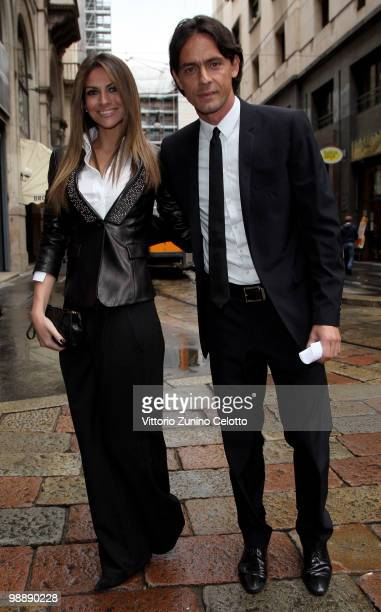 Alessia Ventura and Filippo Inzaghi arrive at Mondadori Multicenter for the 300 Gol Book Launch on May 6, 2010 in Milan, Italy.