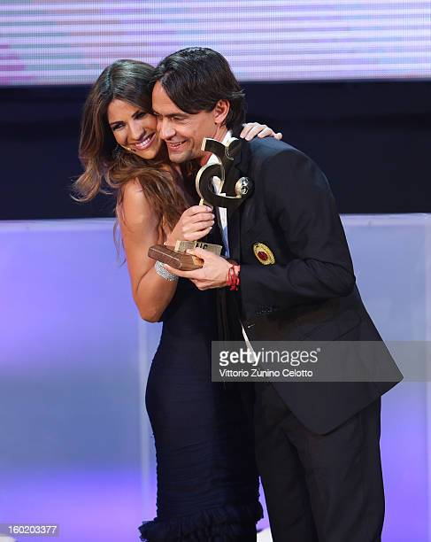 Alessia Ventura and Filippo Inzaghi attend the Gran Gala del Calcio Aic football awards ceremony at Teatro dal Verme on January 27 2013 in Milan Italy