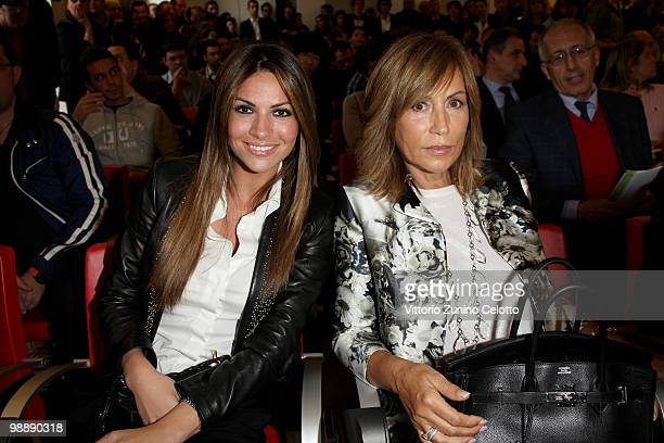 Alessia Ventura and Marina Inzaghi attend the 300 Gol Book Launch held at Mondadori Multicenter on May 6 2010 in Milan Italy