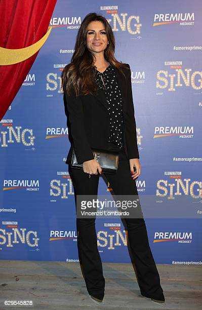 Alessia Ventura attends a photocall for 'Sing' on December 13 2016 in Milan Italy