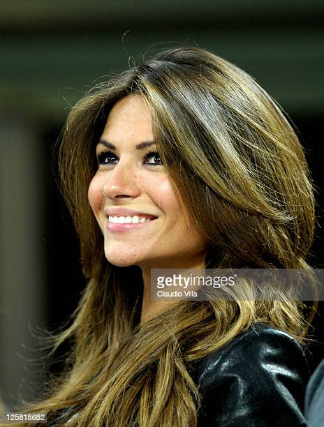 Alessia Ventura during the Serie A match between AC Milan and Udinese Calcio at Stadio Giuseppe Meazza on September 21 2011 in Milan Italy