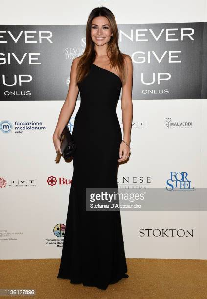 Alessia Ventura is seen on red carpet of Never Give Up Onlus on March 15, 2019 in Milan, Italy.