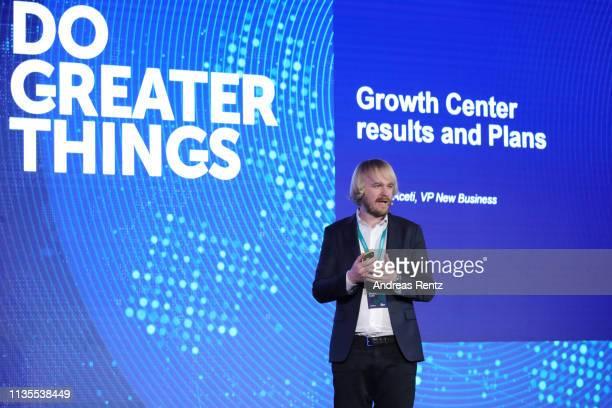 Alessio Aceti,VP New Business of Kaspersky Lab speaks during the Kaspersky Lab European Strategic Session on March 11, 2019 in Split, Croatia.