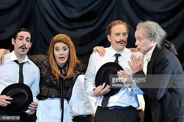 Alessio Arduini as Guglielmo, Sabina Puertolas as Despina, Daniel Behle as Ferrando and Johannes Martin Kranzle as Don Alfonso in the Royal Opera's...