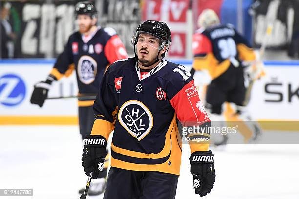 Alessio Bertaggia of Lugano reacts during the Champions Hockey League Round of 32 match between HC Lugano and HC Pilsen at Resega on October 4 2016...