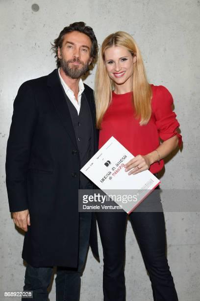 Alessio Boni and Michelle Hunziker attends Doppia Difesa Uccisa In Attesa Di Giudizio screening during the 12th Rome Film Fest at Maxxi on November 1...