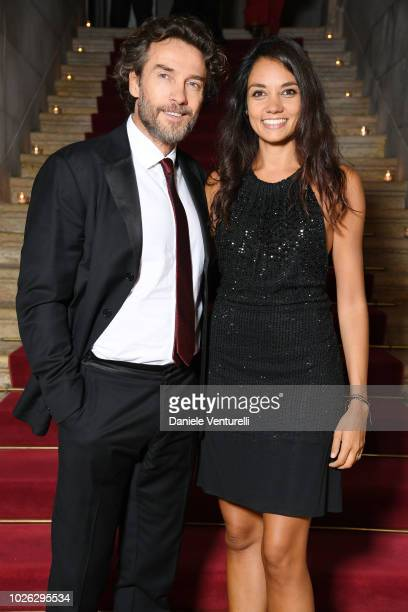 Alessio Boni and Nina Verdelli attends 2018 Kineo Dinner during the 75th Venice Film Festival on September 2 2018 in Venice Italy