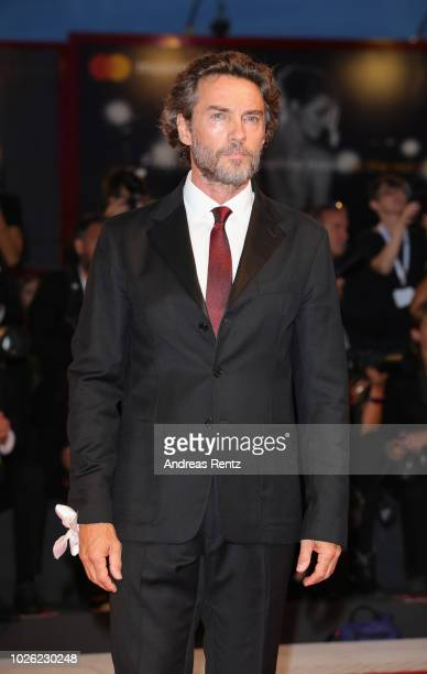 Alessio Boni walks the red carpet ahead of the 'The Sisters Brothers' screening during the 75th Venice Film Festival at Sala Grande on September 2...