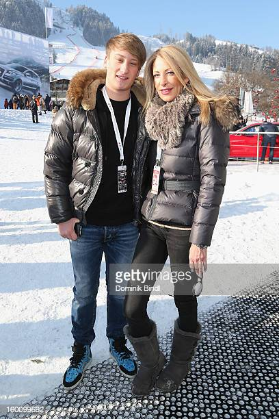 Alessio Brehme and Pilar Brehme attend the Hahnenkamm Race on January 26 2013 in Kitzbuehel Austria