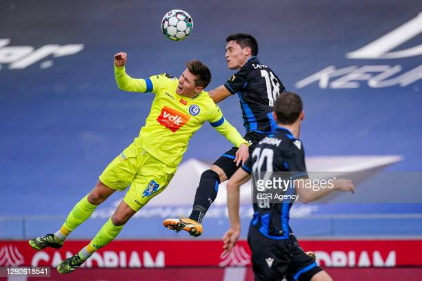 Alessio Castro-Montes of KAA Gent, Federico Ricca of Club Brugge during the Pro League match between Club Brugge and KAA Gent at Jan Breydel Stadium...