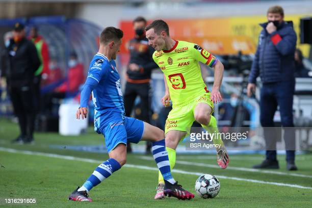 Alessio Castro-Montes of KAA Gent, Rob Schoofs of KV Mechelen during the Jupiler Pro League Europa League Play-Offs match between KAA Ghent and KV...
