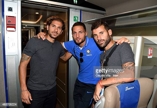 Alessio Cerci Danilo D'Ambrosio and Antonio Nocerino on the train Frecciarossa 1000 on August 12 2015 in Reggio nell'Emilia Italy