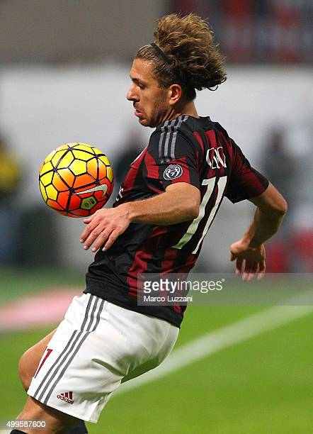 Alessio Cerci of AC Milan controls the ball during the Serie A match between AC Milan and UC Sampdoria at Stadio Giuseppe Meazza on November 28 2015...
