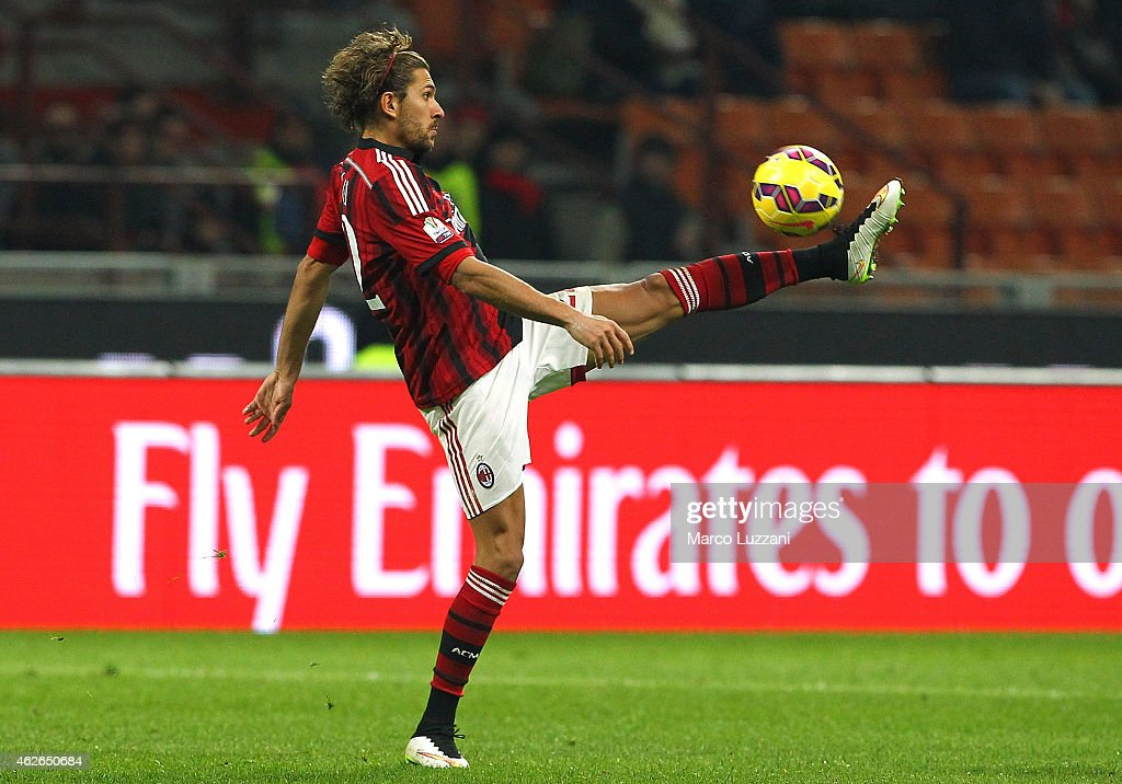 Alessio Cerci of AC Milan controls the ball during the TIM Cup match between AC Milan and SS Lazio at Stadio Giuseppe Meazza on January 27, 2015 in Milan, Italy.
