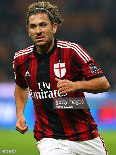 Alessio Cerci of AC Milan looks on during the TIM Cup match between AC Milan and US Sassuolo Calcio at Stadio Giuseppe Meazza on January 13 2015 in...