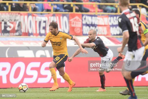 Alessio Cerci of Hellas Verona FC in action during the serie A match between Bologna FC and Hellas Verona FC at Stadio Renato Dall'Ara on April 15...