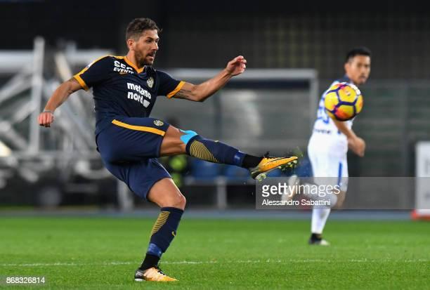 Alessio Cerci of Hellas Verona in action during the Serie A match between Hellas Verona FC and FC Internazionale at Stadio Marc'Antonio Bentegodi on...