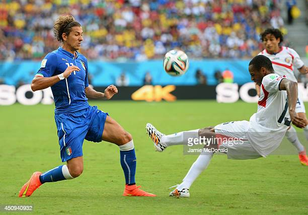 Alessio Cerci of Italy competes for the ball with Junior Diaz of Costa Rica during the 2014 FIFA World Cup Brazil Group D match between Italy and...